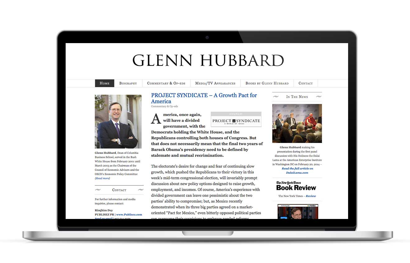 Website Design for Glenn Hubbard by Judy O Studio